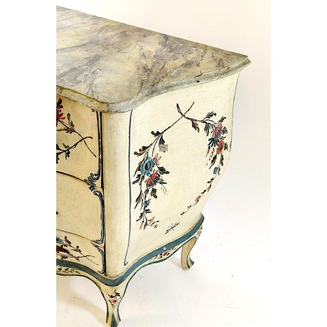 French Country 20th Century Shabby Chic Italian Floral Bombe' Chest For Sale - Image 3 of 10