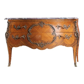 Antique Late 19th Century French Rococo Marble Top Bombe Chest For Sale