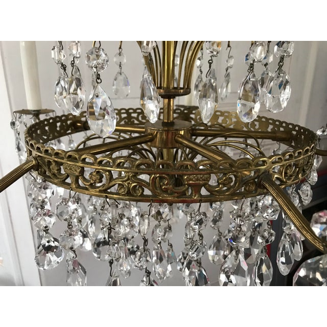 1940s Russian Baltic Crystal Layered Polished Brass Waterfall Chandelier For Sale - Image 5 of 11