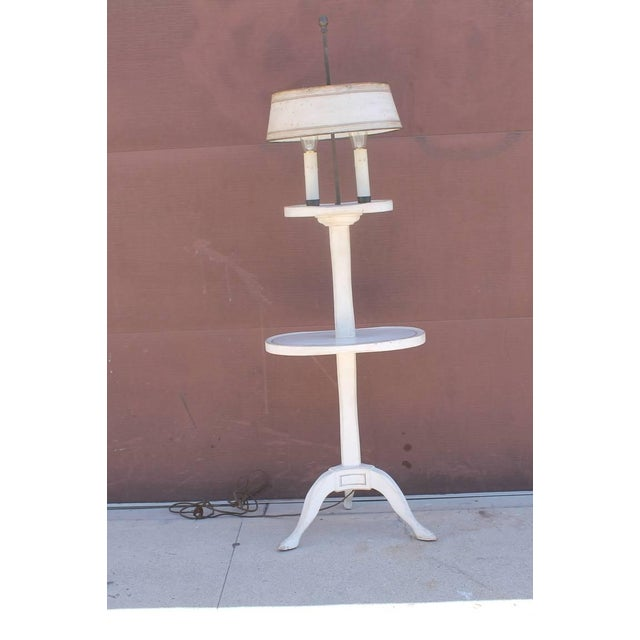 Amazing White Painted Floor Lamp with Tole Painted Tin Shade For Sale In Los Angeles - Image 6 of 10
