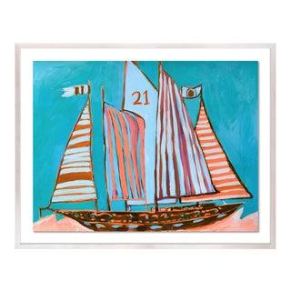 SB Exumas by Lulu DK in White Wash Framed Paper, Medium Art Print For Sale