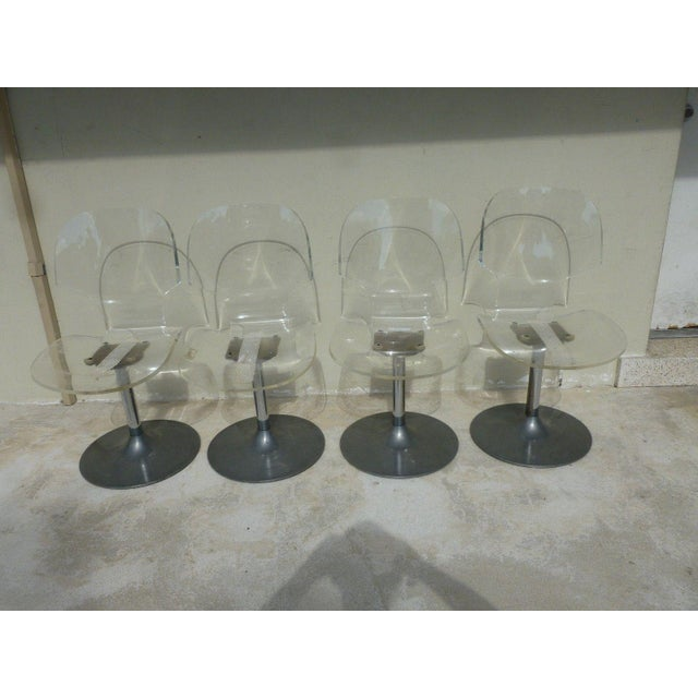 Metal Set of 4 Space Age Mod 70's Lucite and Aluminum Swivel Chairs For Sale - Image 7 of 8
