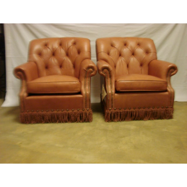 Leather Chairs With Tufting & Fringe - Pair - Image 2 of 7