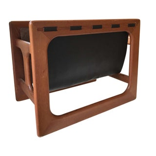 Danish Modern Salin Mobler Teak and Leather Magazine Rack For Sale