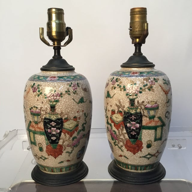 19th Century Antique Asian Hand Painted Table Lamps - a Pair For Sale - Image 11 of 13