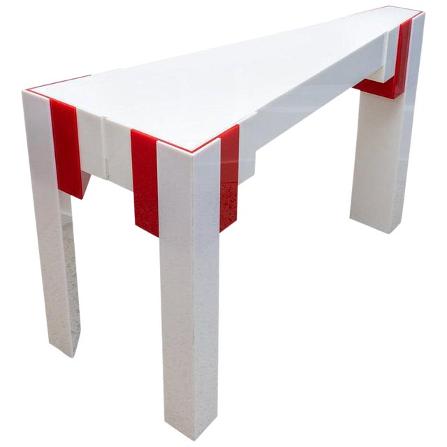 Lucite Console Table Red and White 1970s Art Deco Revival For Sale