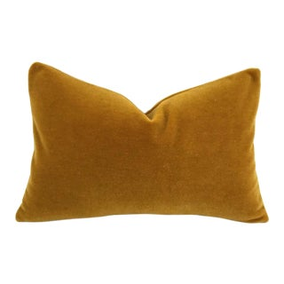 S. Harris Ankara Mohair Amber Velvet Lumbar Pillow Cover For Sale