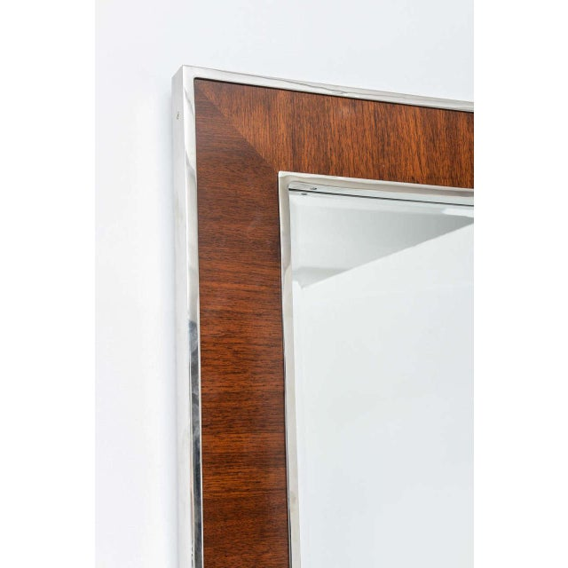 Karl Springer Style Mirror with Polished Chrome and Mahogany Frame, 1980s - Image 7 of 10
