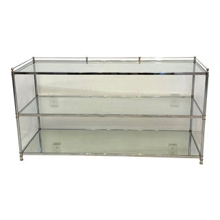 1980s Mid-Century Modern Chrome and Brass Console For Sale