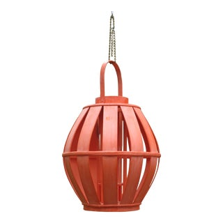 1990s Large Coral Pink Wood Bamboo Candle Holder Hanging Outdoor Lantern For Sale
