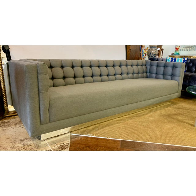 1970s Vintage Milo Baughman Chrome and Tufted Gray Sofa For Sale - Image 12 of 13
