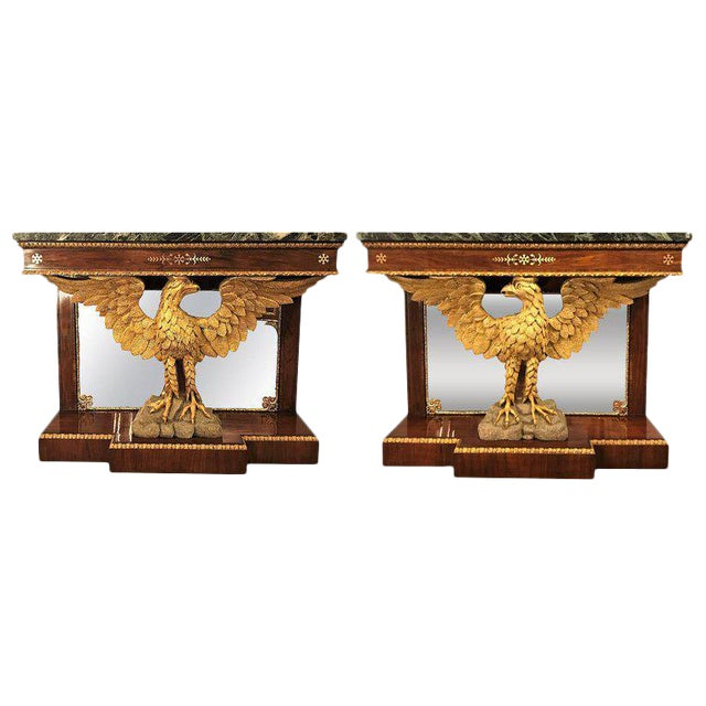 Pair of Monumental Federal Style Console Table with Carved Opposing Eagles For Sale