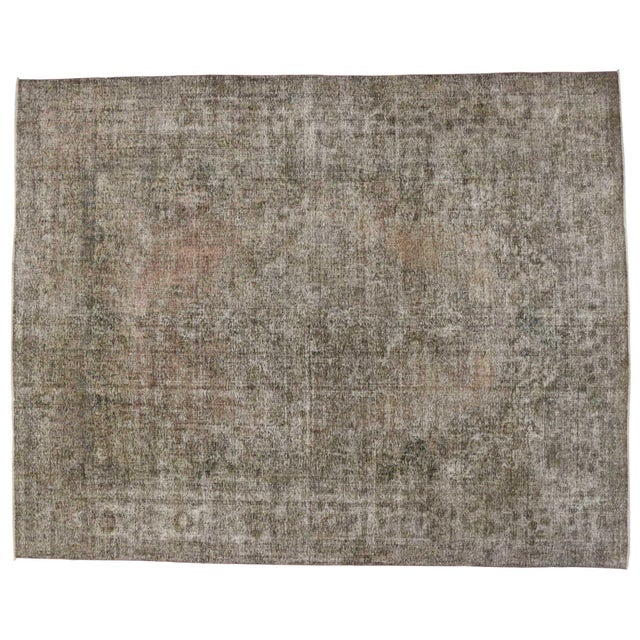 20th Century Rustic Farmhouse Style Distressed Persian Tabriz Area Rug For Sale - Image 4 of 5