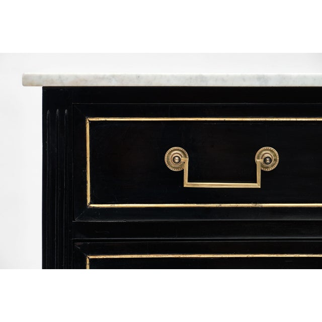 Late 19th Century Louis XVI Style Antique Ebonized Chest with Carrara Mable Top For Sale - Image 5 of 10