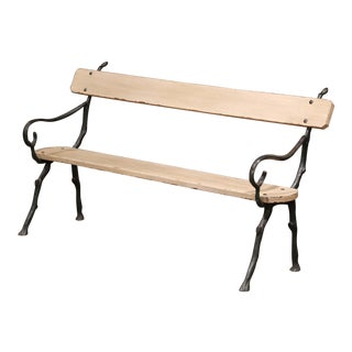 French Iron and Wood Painted Outdoor Public Bench With Arms From Normandy For Sale