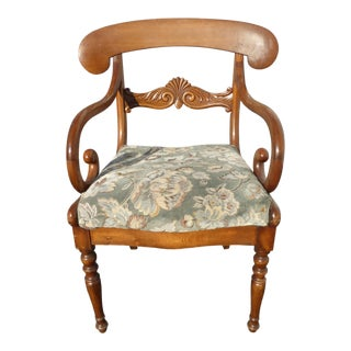 Vintage French Country Carved Wood Accent Chair Unique Scrolled Hand Rests For Sale