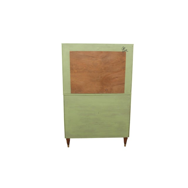 Brass Mid Century Modern Cabinet in Green For Sale - Image 7 of 8