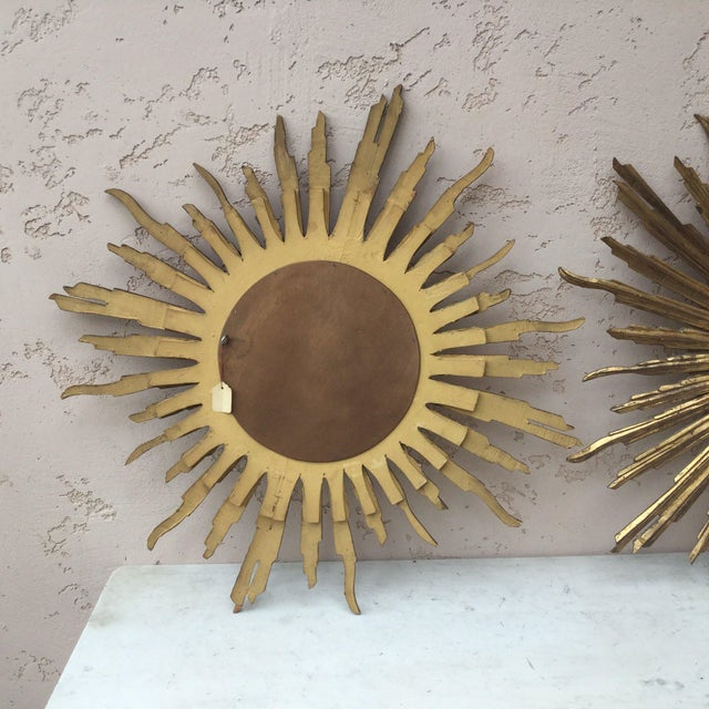 French French Convex Sunburst Gilded Wood Mirror For Sale - Image 3 of 5