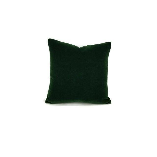 """Pierre Frey Bold Mohair Velvet in Forest - Dark Emerald Green Mohair Velvet Pillow Cover - 20"""" X 20"""" For Sale In Portland, OR - Image 6 of 6"""