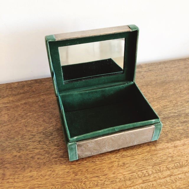 1950s Embossed Tin and Green Velvet Box For Sale - Image 5 of 7