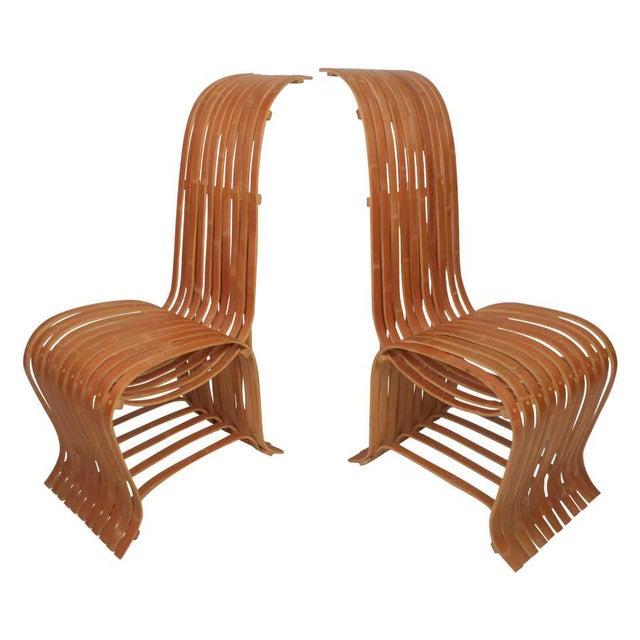 Pair of Vintage Wood-Slat Chairs For Sale - Image 11 of 11