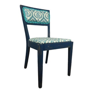 Refinished Vintage Peacock Blue Painted Accent Chair For Sale