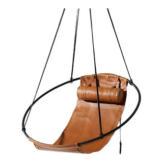 Modern 21st Century Tan Sling Hanging Swing Chair For Sale