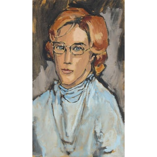 Rip Matteson Woman With Glasses, Modernist Portrait in Oil, 1969 1969 For Sale