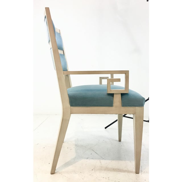 Hickory White Modern Turquoise Velvet Greek Key Dining Chairs Set of Four For Sale - Image 10 of 11