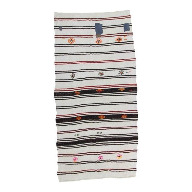 "Vintage Striped Turkish Hemp Kilim Rug - 6'11"" X 13'9"" For Sale"