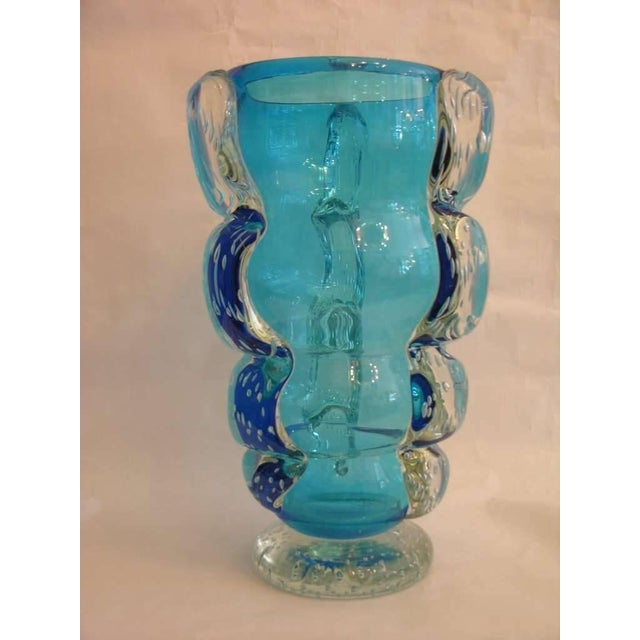 Signed Italian Sky Blue Murano Glass Vase by Flavio Costantini For Sale In New York - Image 6 of 10