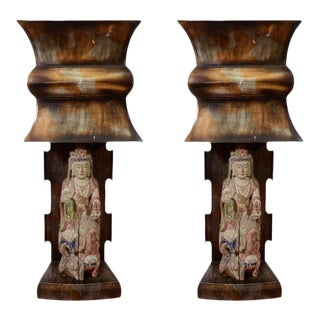 Extraordinary Rare Pair of 1940s James Mont Asian Lamps For Sale
