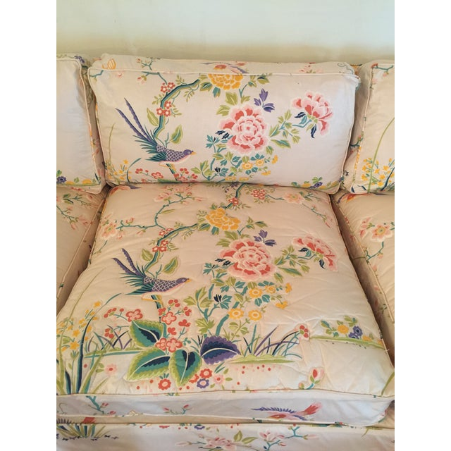 1960s Mid-Century Modern Hog and Horse Mane Hair Sofa Couch With Down Cushions With Floral Slipcover For Sale - Image 4 of 11