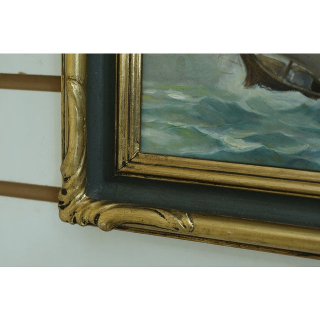 Item: F49222EC: Vintage Tall Ship 'Stormy Seas' Oil Painting On Board In Gold Frame Age: Approx: 50 Years Old Details:...