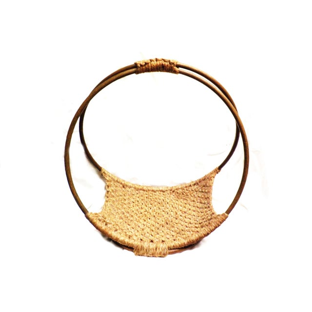 Mid-Century Modern Minimalist Wool Basket - Image 2 of 5