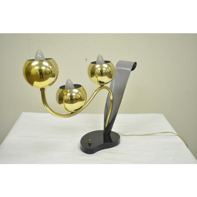 Item: Vintage Mid Century Modern Brass Orb and Metal Desk or Table Lamp Details: 3 different lighting functions, Very...