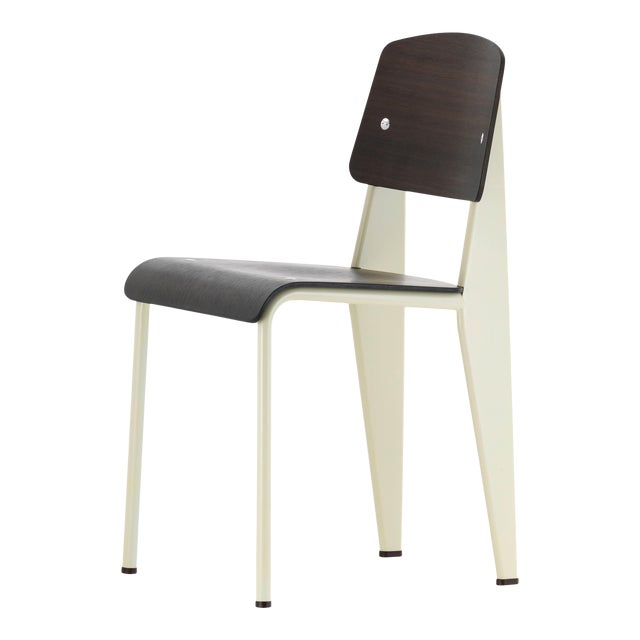 Jean Prouvé for Vitra Dark Oak and Ecru White Metal Standard Chair For Sale