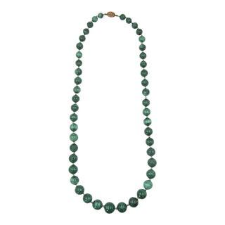 "Graduated 26"" Malachite Beads Neckalce For Sale"