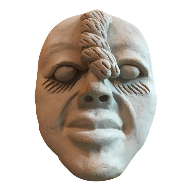 Vintage Outsider Clay Art Human Face Sculpture For Sale