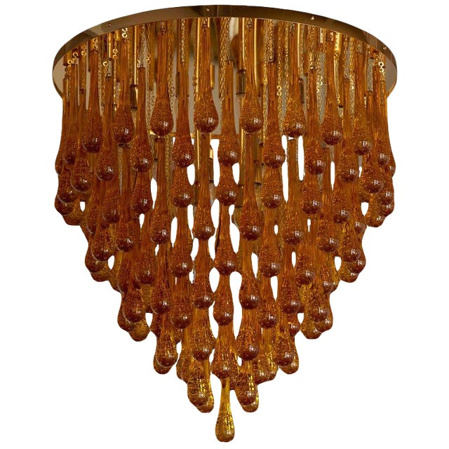 Monumental Brass and Murano Glass Tear Drop Flush Mount Attr. To Barovier & Toso For Sale