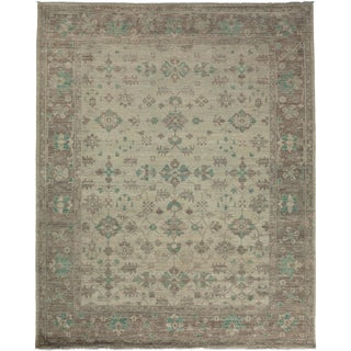 "Oushak Hand Knotted Area Rug - 8'7"" X 9'10"" For Sale"
