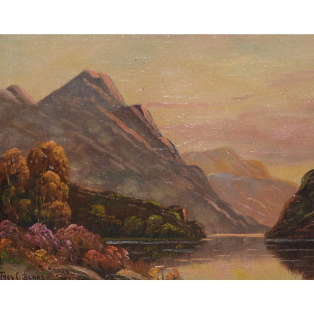 Thomas C. Blake Mountain Landscape Oil Painting c.1920 Fine luminous mountain landscape by listed American / English...