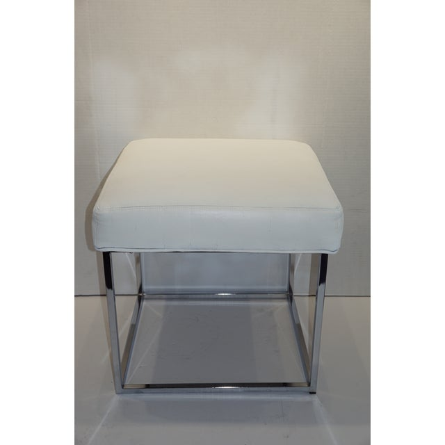 Mid-Century Modern 1970s Mid Century Modern Milo Baughman for Design Institute of America Cube Chrome Ottoman For Sale - Image 3 of 8