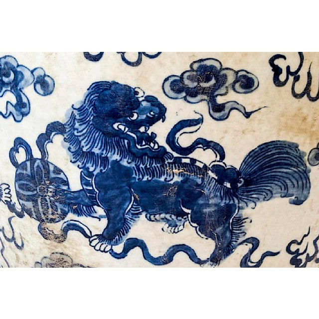 Qing Dynasty Blue & White Porcelain Garden Seat For Sale - Image 4 of 7