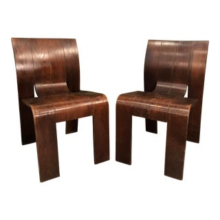 1960s Vintage Brazilian Molded Rosewood Chairs- A Pair For Sale