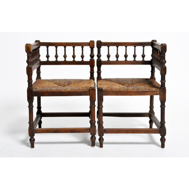 French Wooden Corner Chairs - a Pair For Sale - Image 13 of 13