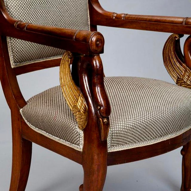 19th Century French Empire Mahogany & Parcel Gilt Chairs - A Pair - Image 7 of 9