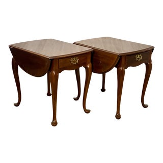 Vintage Drexel Solid Cherry Pembroke Drop Leaf Side Tables For Sale