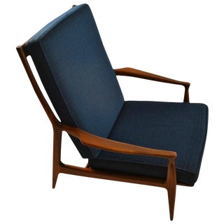 Early Milo Baughman for Thayer Coggin Walnut Frame Arm Chair For Sale