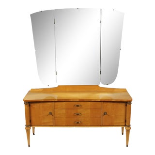 1930s Directoire Maple Dressing Table & Mirror For Sale